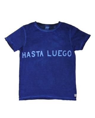Tee with Two-Tone washing & oversized text artworks, 125866/1544-07.51501/48, denim-blue