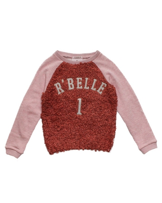 Sweat with knitted front panel & patched artwork, 126859/1554-08.60413/29, rose/apricot