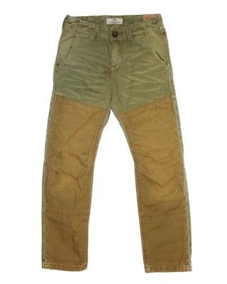 Bleached out worker pants with contrast front panels, 125942, military