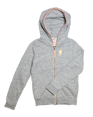Hooded Zip through sweat with artworks 125989/1554.07.40422/970 grey melange