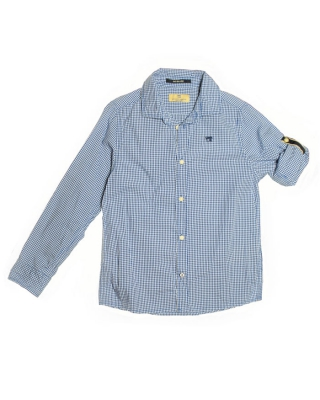 Basic check shirt with roll-up sleeves, 125786, blau/weiß
