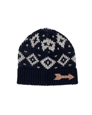 Knitted beanie in stripes and intarsia 126747/144-08.73500/B blue