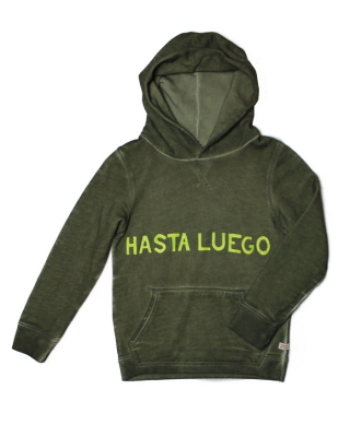 Hoody with text artworks & oilwash, 128522/1544-07.40508/65, military