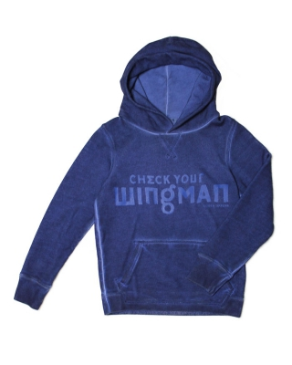 Hoody with text artworks & oilwash, 125822/1544-07.4050/48, denim blue