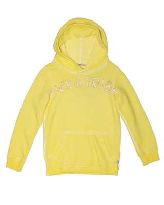 Hoody with textartworks & oilwash, 125822/1544-07.40508/101, citronell