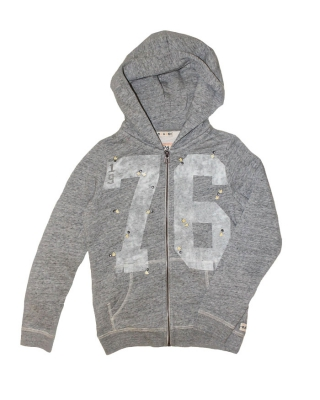 Zip-through hoody with college artwork and revets 126834/1554-08.4042/970, grey melange