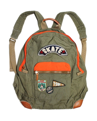 Backpack with badges, 126751/1544-08.74500/66, khaki