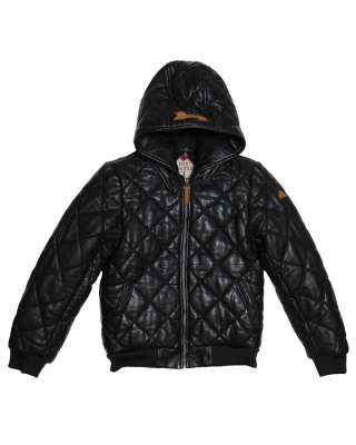 Quilted leather jacket with detachable hood, 126654/1544-08.15500/90, black