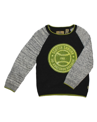 Crew neck pull with contrast sleeves and chest artwork 1267271544-08.60506/E, anthrazit/grey