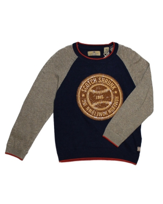 Crew neck pull with contrast sleeves and chest artwork, 125727/1544-08.6050/D, blue/beige