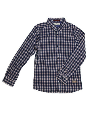 Slim fit punky mini check shirt, 126658/1544-08.20504/F, blue/red/white