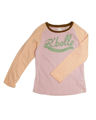 Raglan tee with glitter artworks, 126841/1554-08.50414/M, rose/apricot