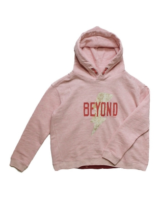 Hoody with cross-over back panel jersey underlayer, 126823/1554-08.40405/120, rose